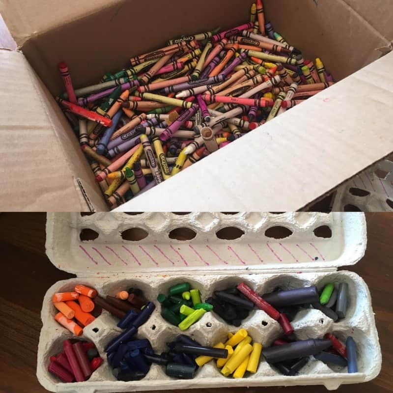 broke and peeled crayons waiting to be metled