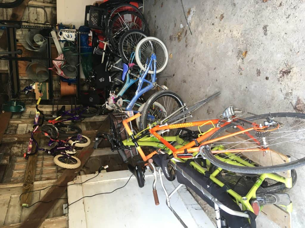 Image of all of our bikes in the garage