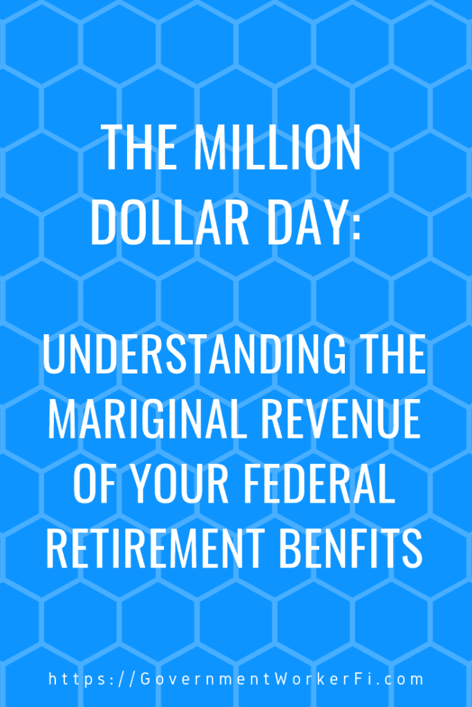"Pinable image with text ""the million dollar day, understanding the marginal revenue of your federal retirement benefits."""