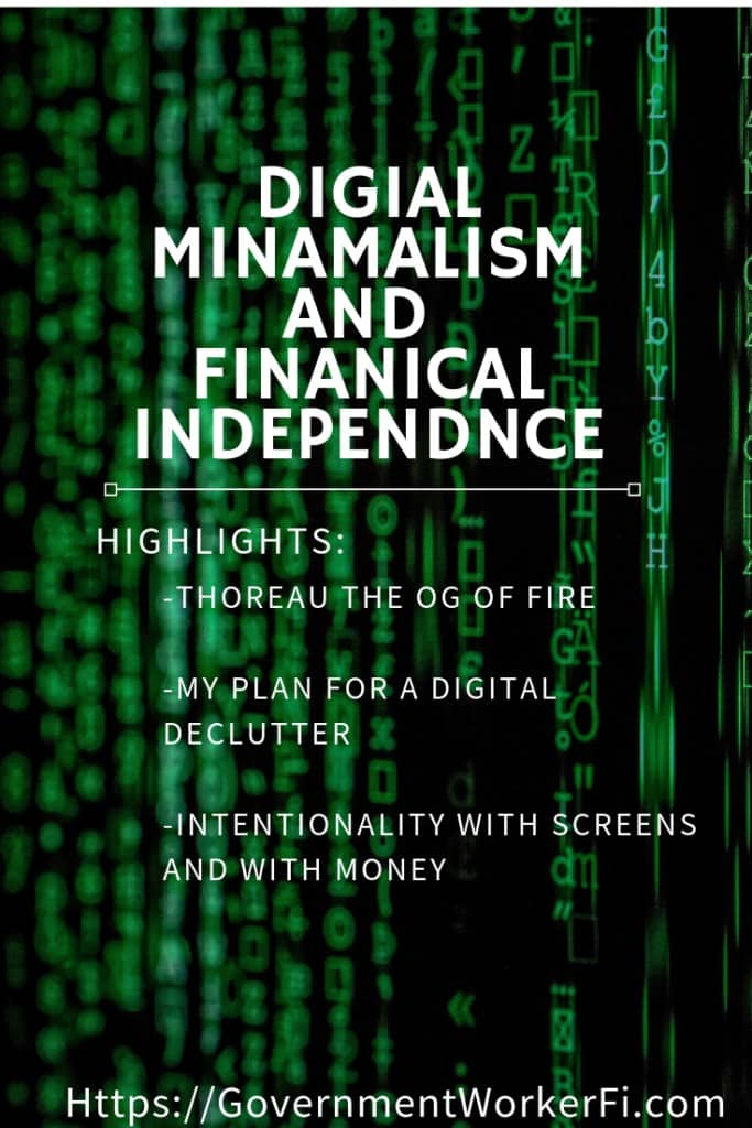Pinterst pin for Digital Minamalism and the financial independence movement. #FIRE #DigitalMinimalism.