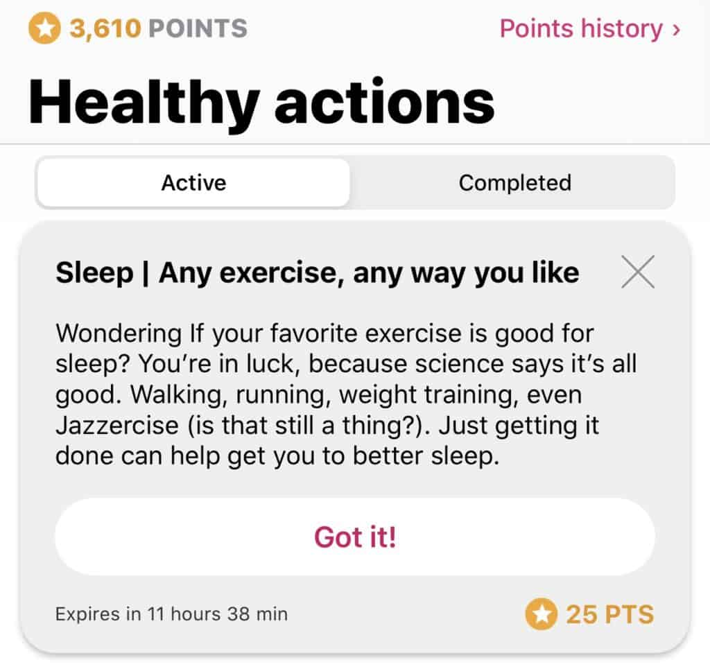 Example of a 25 point healthy action card in the aetna attain app review