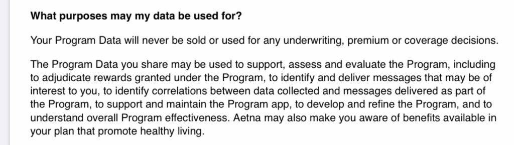 Relevant text from the privacy policy