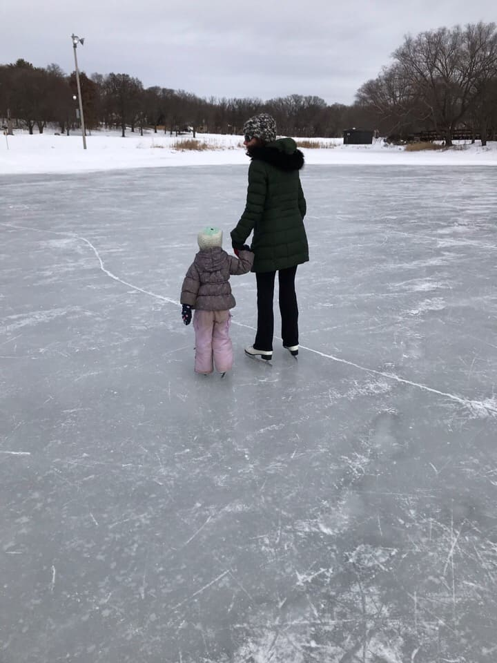 picture of Mrs. Gov and Kid 3 ice skating