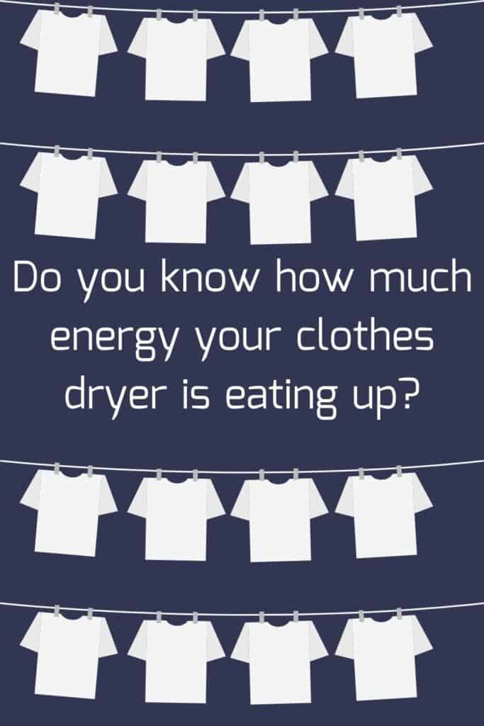 Pinterest pin- do you know how much energy your clothes dryer is eating up? This post is all about measuring how much energy your clothes dryer uses.