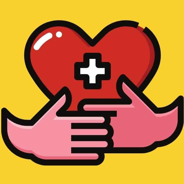 hands hugging a heart for health insurance