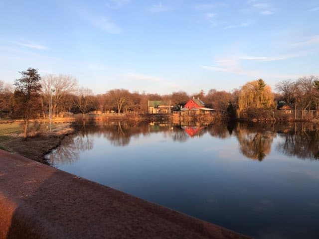 Henry Vilas zoo beyond the lagoon of Lake Wingra