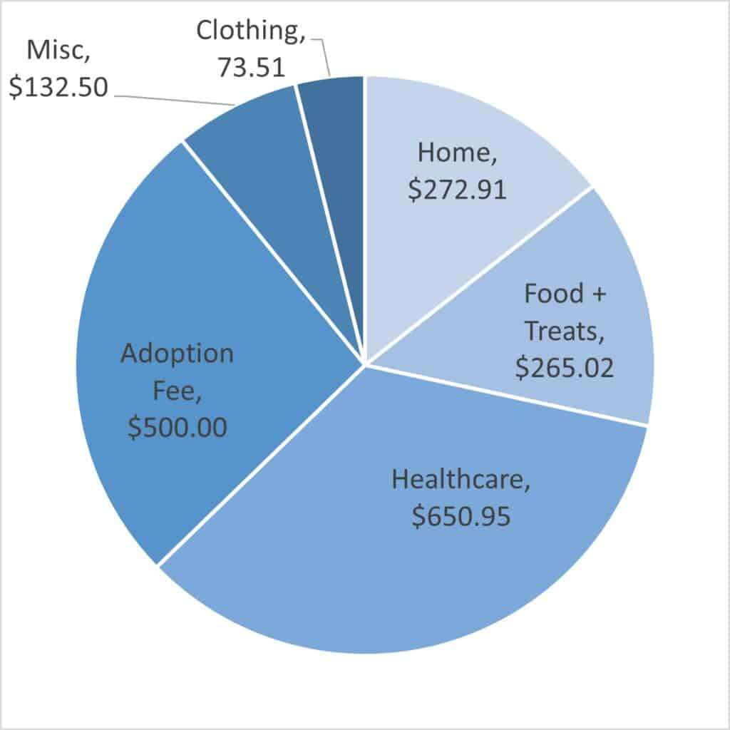 Pie chart showing how much do greyhounds cost to care for over the first 6 months