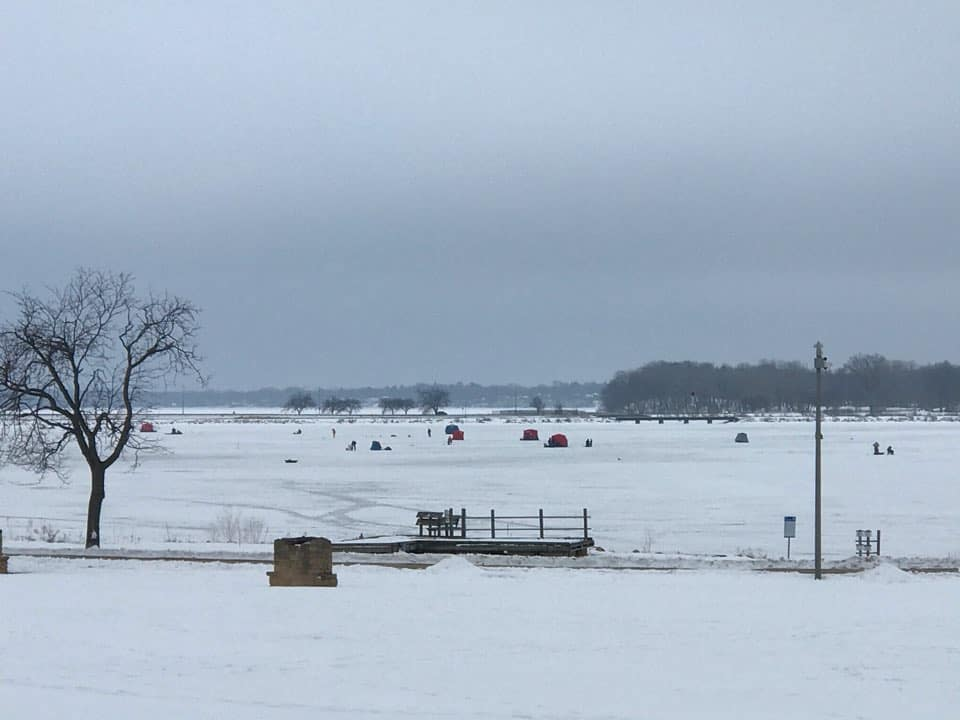 ice fisherman on Monona Bay