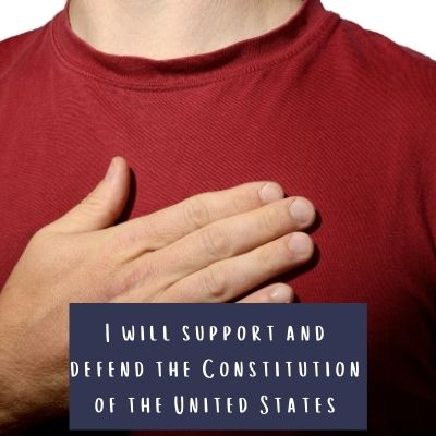 """Beginning of the federal employee oath of office """"I will support and defend the constitution of the United States"""""""