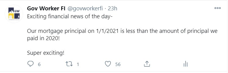 "Image of a Tweet that says ""Exciting financial news of the day- Our mortgage principal on 1/1/2021 is less than the amount of principal we paid in 2020!"