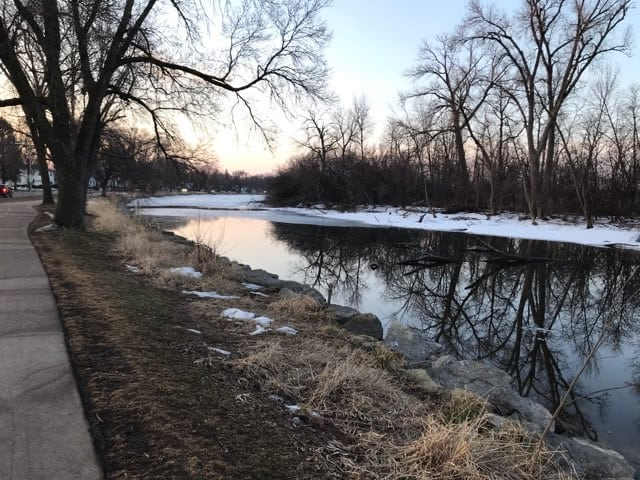 Partially thawed Wingra Creek at Sunrise