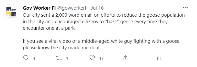 funny tweet about a goose
