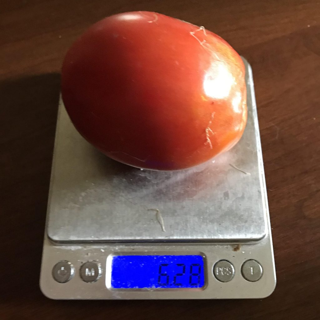 1 tomato weighs about 0.4 pounds